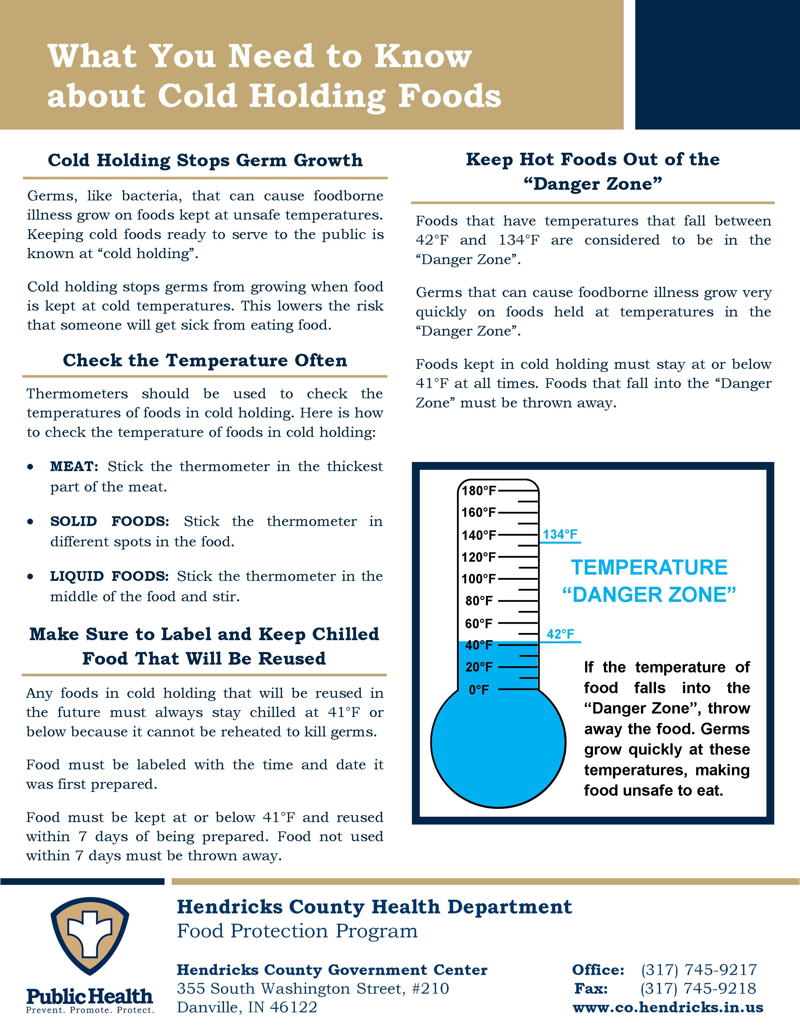 Cold Holding Information Sheet