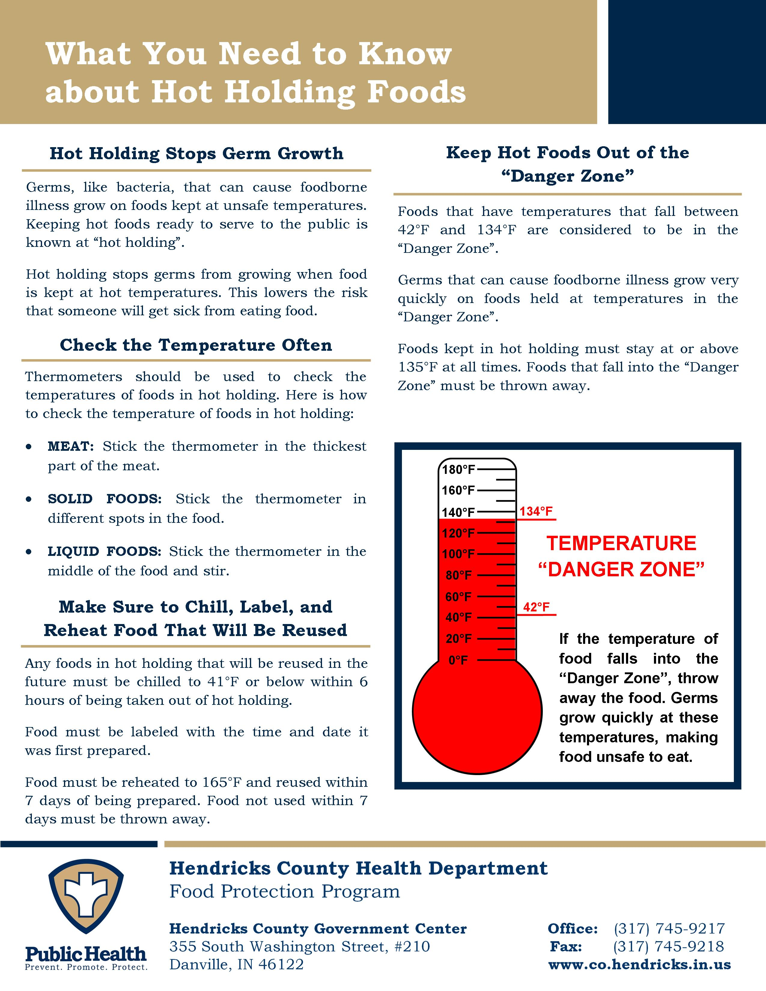 Hot Holding Information Sheet