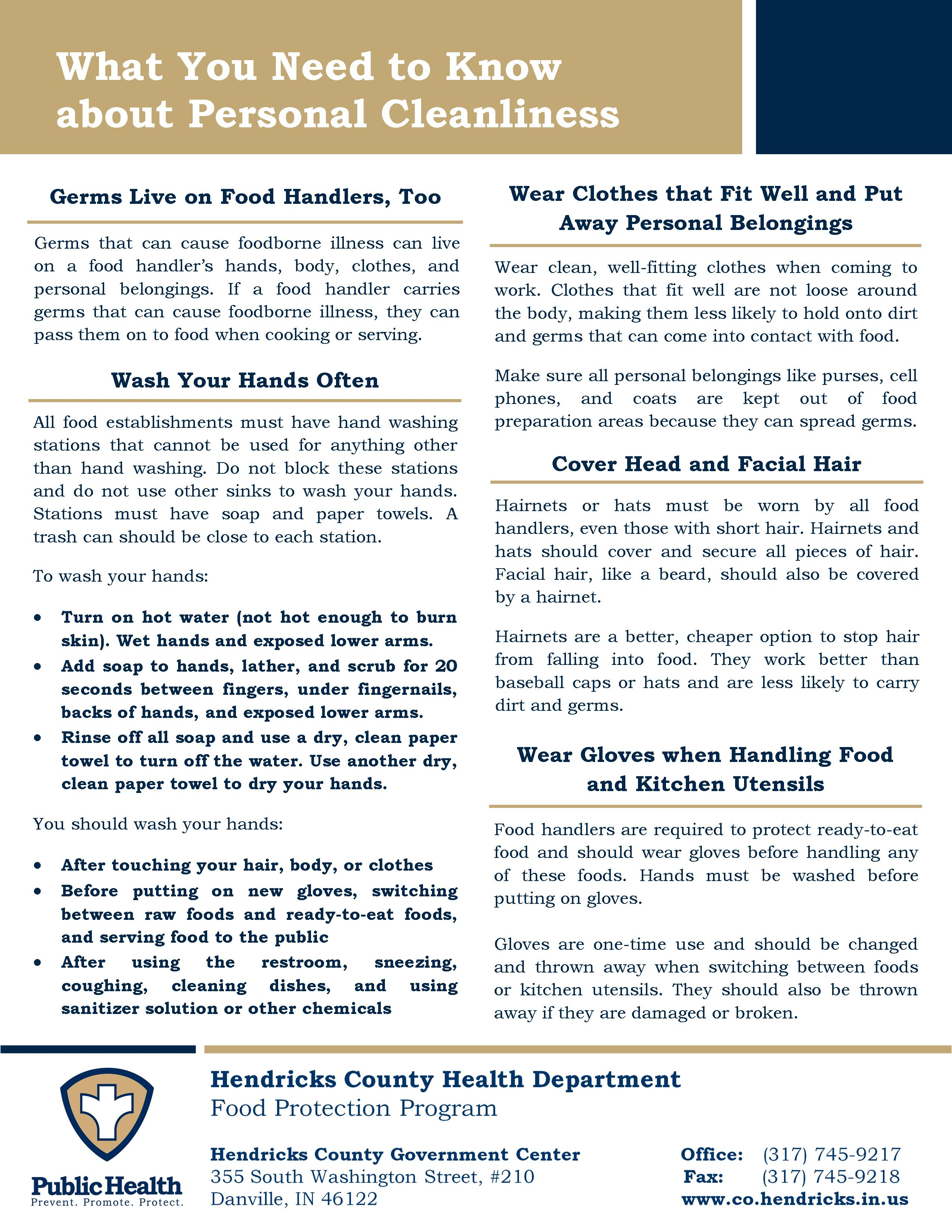 Personal Cleanliness Information Sheet