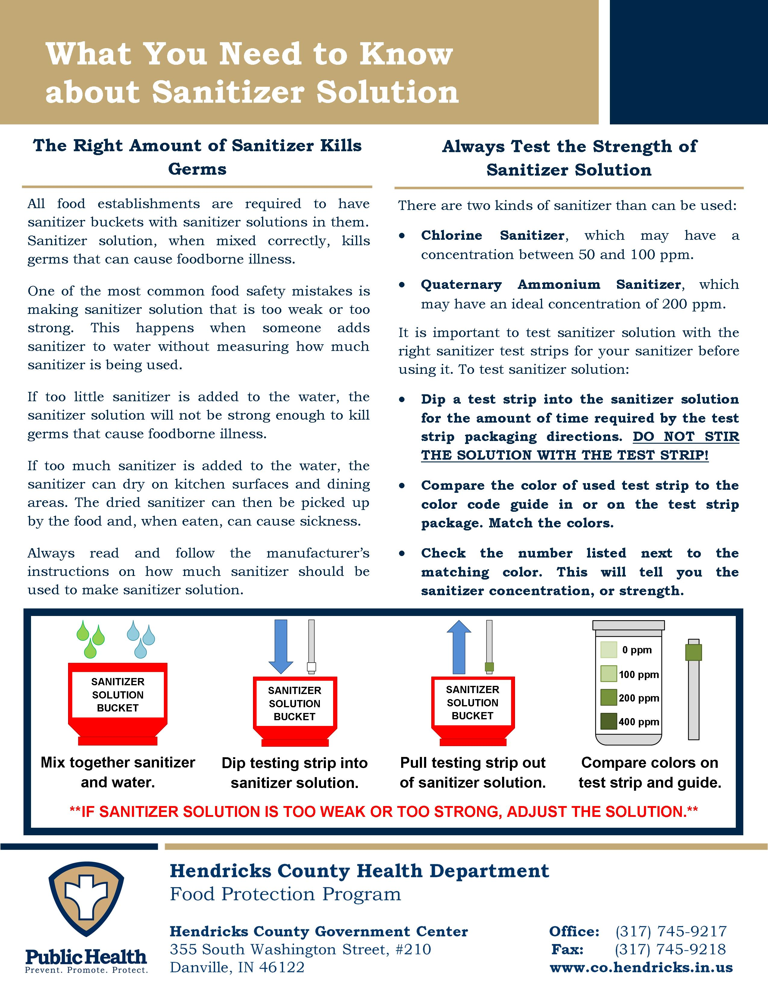 Sanitizer Solution Information Sheet